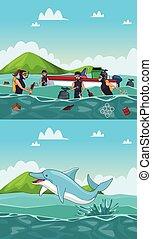 takarítás, tenger, karikatúrák