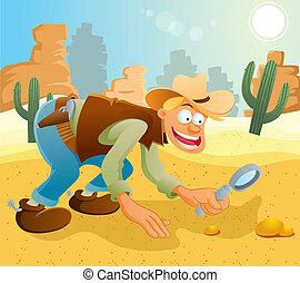 talál, arany, cowboy