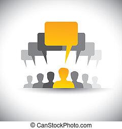 találkozó, ez, társaság, elvont, bot, &, graphic., gyűlés, társadalmi, vezető, emberek, egyesítés, bizottság, vektor, munkavállaló, grafikus, diák, hang, ikonok, vezetés, -, média, s a többi, őt előad, is, vagy, kommunikáció