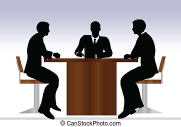 találkozik emberek, árnykép, ügy, ülés