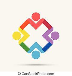 találkozik emberek, logo., karika, négy, csoport, szoba, személy