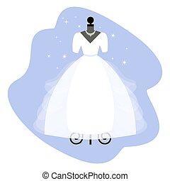 talár, dress., elegáns, mannequin., menyasszony, vector., esküvő, fehér, apparel.