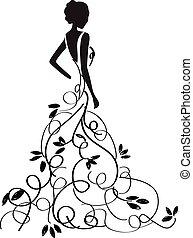talár, gyönyörű, girl/bride, fiatal