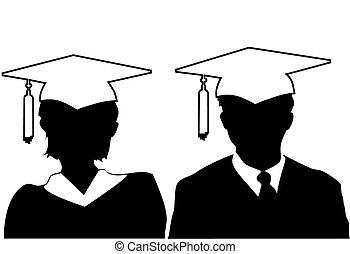 talár, nő, árnykép, &, sapka, diplomás, érettségizik, ember