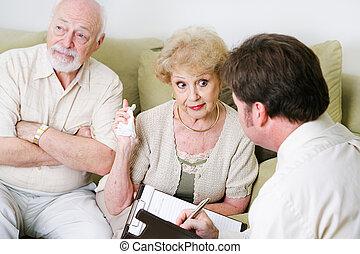 tanácsadás, párosít, seniors, -