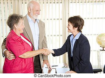 tanácsadó, gyűlés, seniors, anyagi