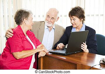 tanácsadó, párosít, anyagi, idősebb ember