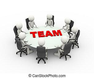 tanácskozás, ügy emberek, befog, asztal, gyűlés, 3