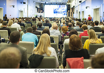 tanácskozás, ügy emberek, nagy, nagy csoport, őrzés, bemutatás, ideas., fogalom, ellenző