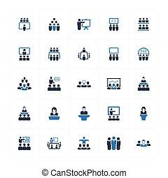 tanácskozás, kék, ügy icons, version(set, -, 2)