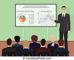 tanácskozás, szakértő, emberek, odaad, concept., üzletember, training., bemutatás, szeminárium