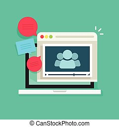 tanácskozás, technológia, beszéd, emberek, webinar, hívás, online, video, gyűlés, ikon