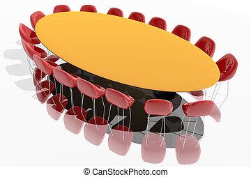 tanácskozóterem, asztal