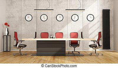 tanácskozóterem, minimalista, modern berendezés