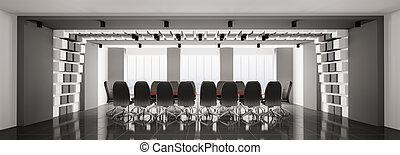 tanácskozóterem, panoráma, modern, 3