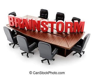 tanácskozóterem, szöveg, elmezavar, piros asztal