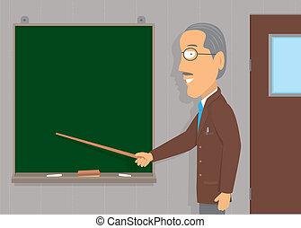 tanítás, idősebb ember, /, copyspace, ember