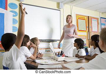 tanítás, iskola osztály, ifjú, tanár