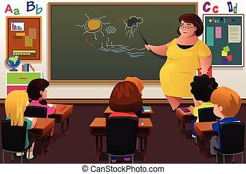 tanítás, tanár, osztályterem