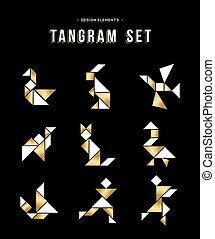 tangram, arany, klasszikus, szín, játék, állhatatos, ikon