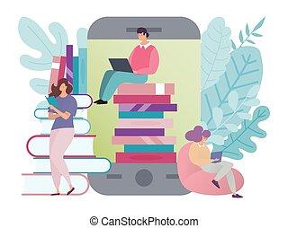 tankönyv, ebook, apró, hallgató olvas, laptop, olvas, könyv, könyvtár, nő, ábra, betű, vektor, ember, tanul, lakás, karikatúra, irodalom