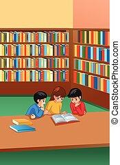 tanulás, gyerekek, könyvtár, ábra