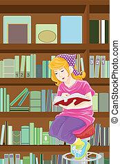 tanulás, leány, könyvtár