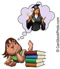 tanulás, leány, vizsga, fiatal, neki