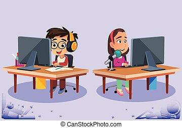 tanulás, számítógépek, gyerekek, vektor, ábra, használ