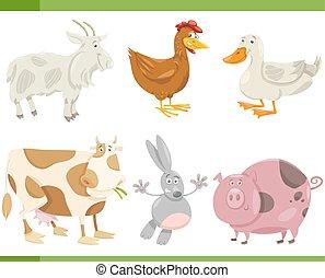 tanya, állhatatos, állatok, karikatúra, ábra