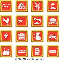 tanya, állhatatos, piros, ikonok