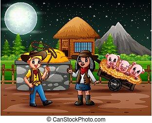 tanya, cowboy, ábra, cowgirl, éjszaka