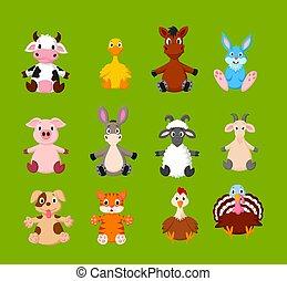 tanya, csinos, állatok, karikatúra, állhatatos