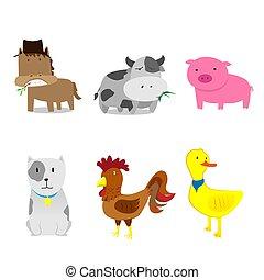 tanya, csinos, állhatatos, állatok, karikatúra
