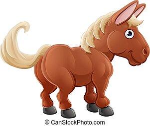 tanya, csinos, ló, karikatúra, állat