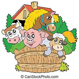 tanya, csoport, állatok