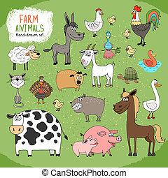 tanya, hand-drawn, állatok, állhatatos