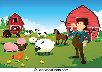 tanya, istálló, állatok, traktor, farmer