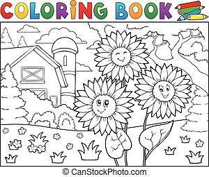tanya, könyv, napraforgók, színezés