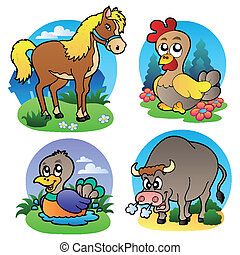 tanya, különféle, 2, állatok