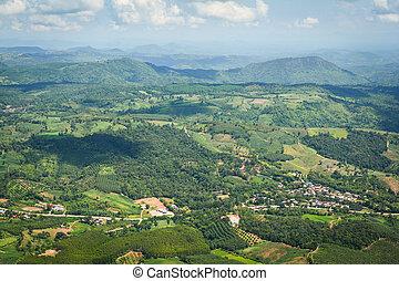 tanya, kilátás, mező, terület, mezőgazdaság, moutain, mezőgazdasági, út, község zöld, tető, /