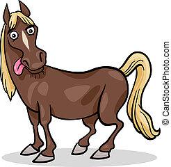 tanya, ló, karikatúra, ábra, állat