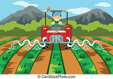 tanya, locsolás, traktor, farmer