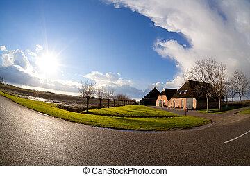 tanya, nap, felett, épület, holland, fisheye, kilátás