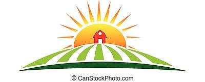 tanya, nap, mezőgazdaság, jel