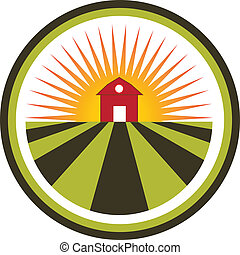 tanya, nap, mezőgazdaság, táj, jel