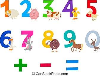tanya, nevelési, állhatatos, állatok, számok