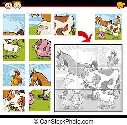 tanya, rejtvény, lombfűrész, állatok, karikatúra