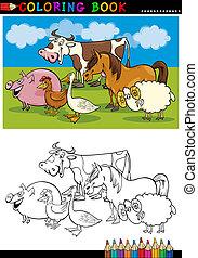 tanya, színezés, állatok, állatállomány