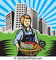 tanya, szerves létrehoz, farmer, betakarít